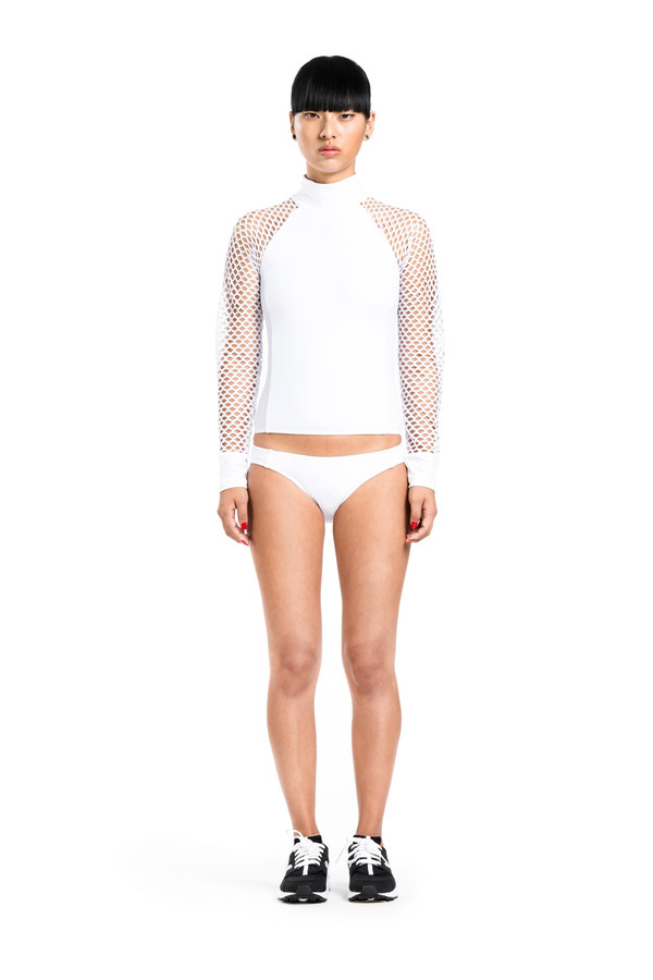BETH RICHARDS Cara Top - White MOCK NECK RASH GUARD TOP WITH MESH SLEEVES