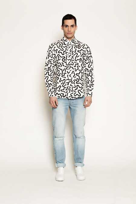 Men's Soulland Ameba Shirt with Allover Print in Black/White