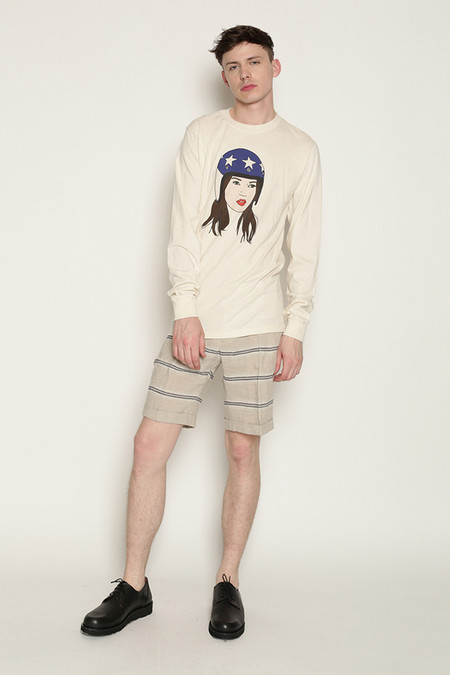 Men's Soulland Kreuzberg Shorts in Beige with Navy Stripes