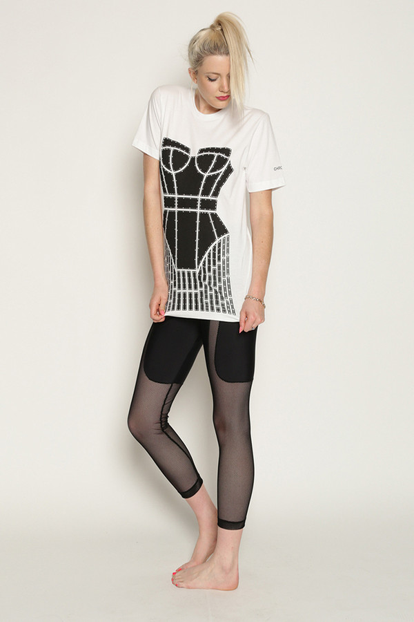 Chromat Metropolis Cage T-Shirt in White/Black