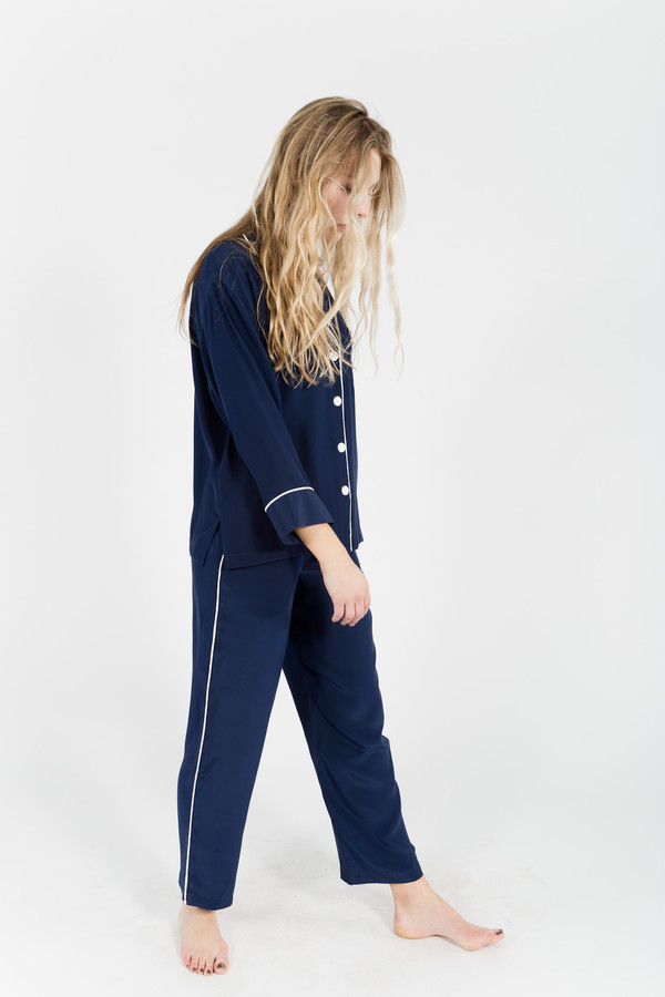 Sleepy Jones Silk Marina Pajama Shirt