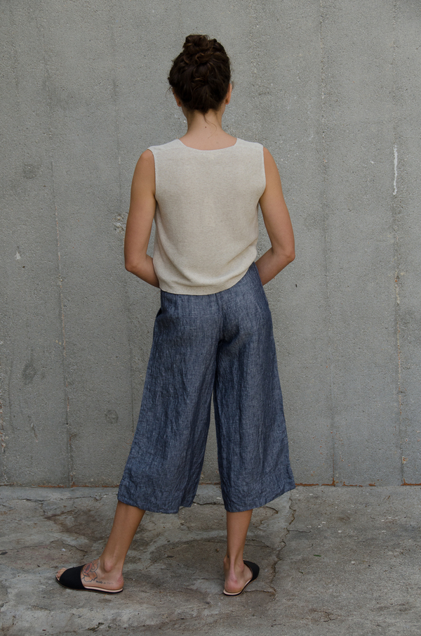 Ali Golden LINEN WIDE-LEG PANT