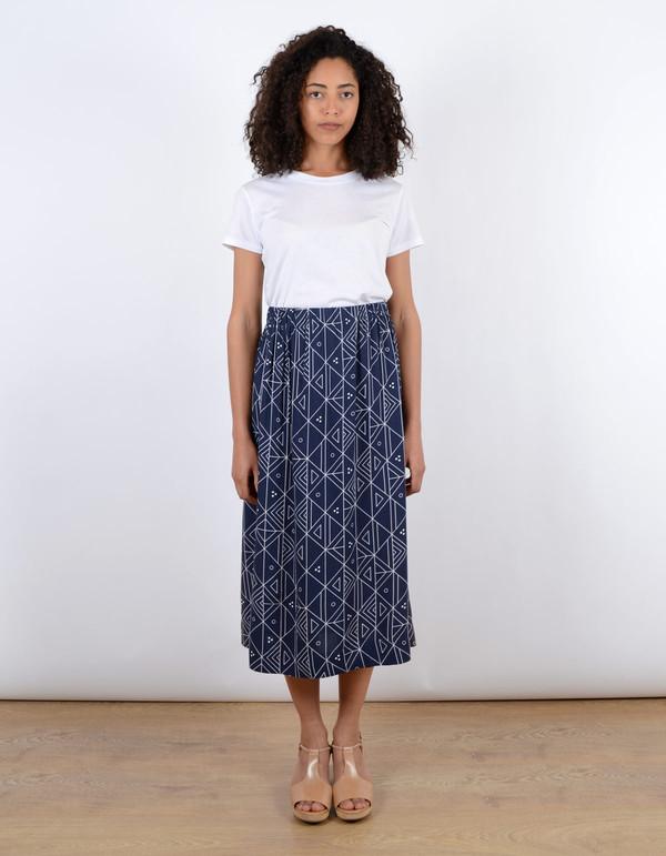 Ali Golden Midi Skirt Navy Print