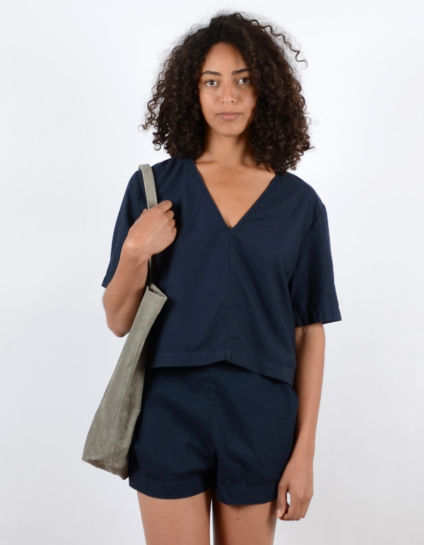 Ali Golden V-Neck Top Navy