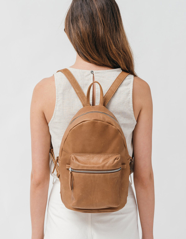 Baggu Leather Backpack Saddle