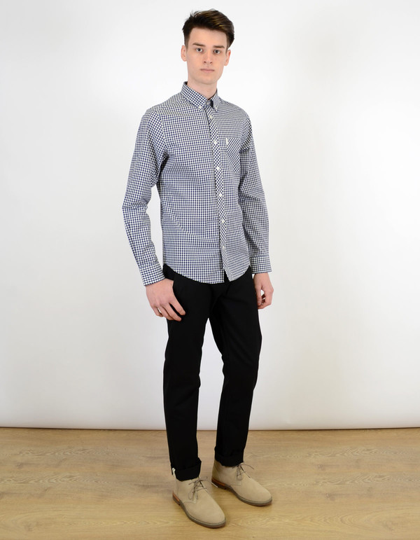 Ben Sherman Classic Gingham Shirt Blue Depths