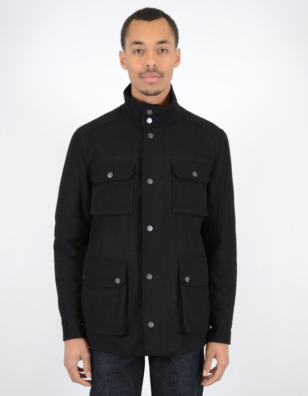 Ben Sherman Melton Field Jacket Jet Black