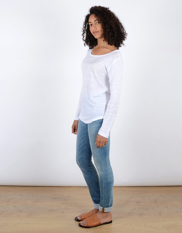 Filippa K Linen Long Sleeve Tee White