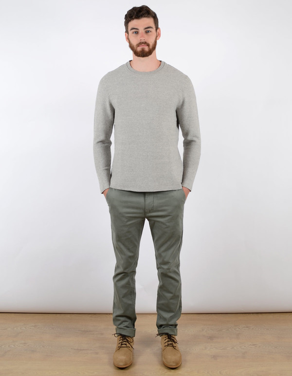 Filippa K Men's Pique Knit Sweater Light Grey Melange