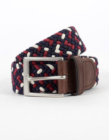 Fred Perry Flecked Woven Belt Navy Maroon Ecru