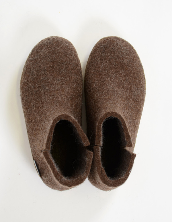 Glerups Women's Wool Boot Leather Sole Brown