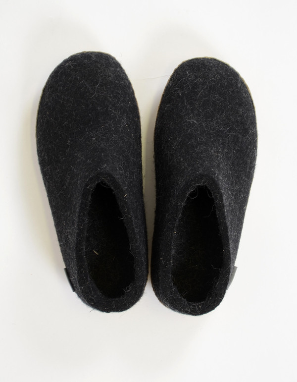 Glerups Women's Wool Slipper Leather Sole Charcoal