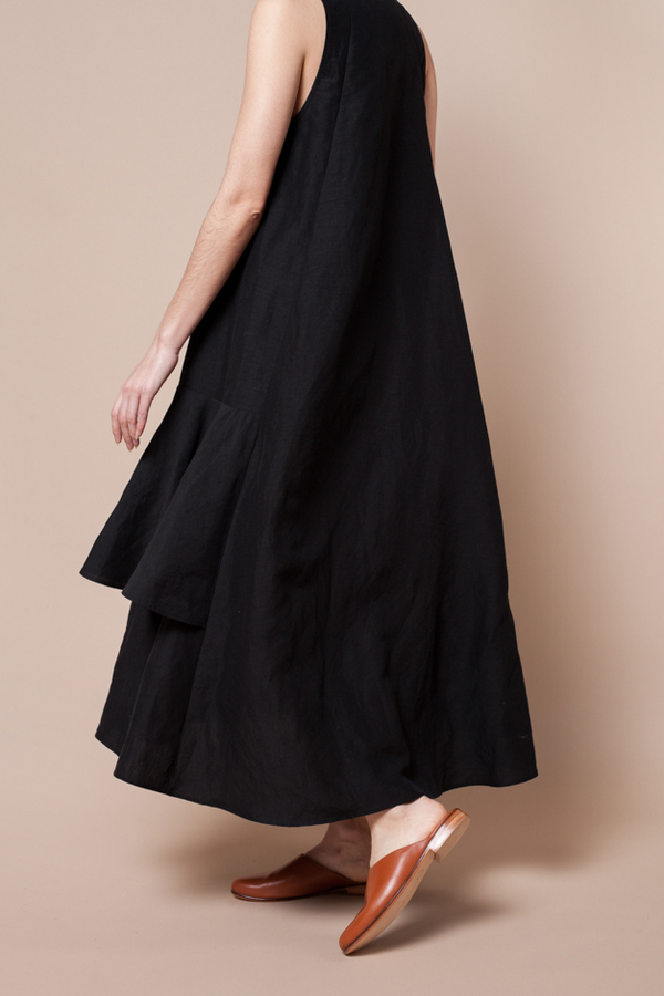 Creatures Of Comfort Lilith Dress - silk linen black