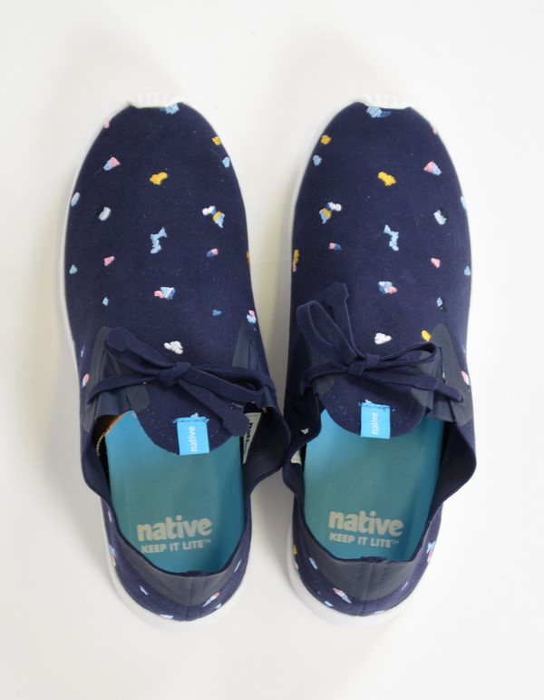 Native Shoes Native Apollo Moc Embroidered Regatta Blue Shell White Chipped Cabo
