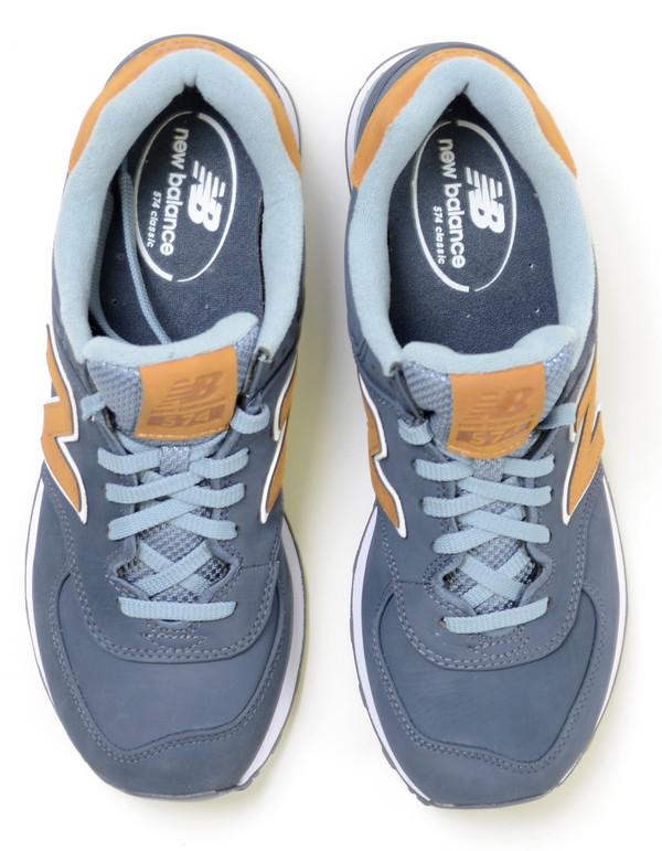 Men's New Balance 574 Sneaker Blue Gold