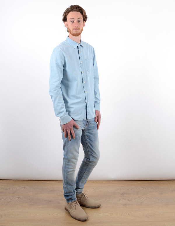 Men's Nudie Henry Shirt Light Blue