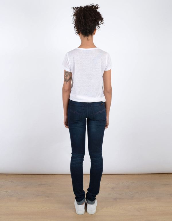 Nudie Skinny Lin Navy Stitch Black