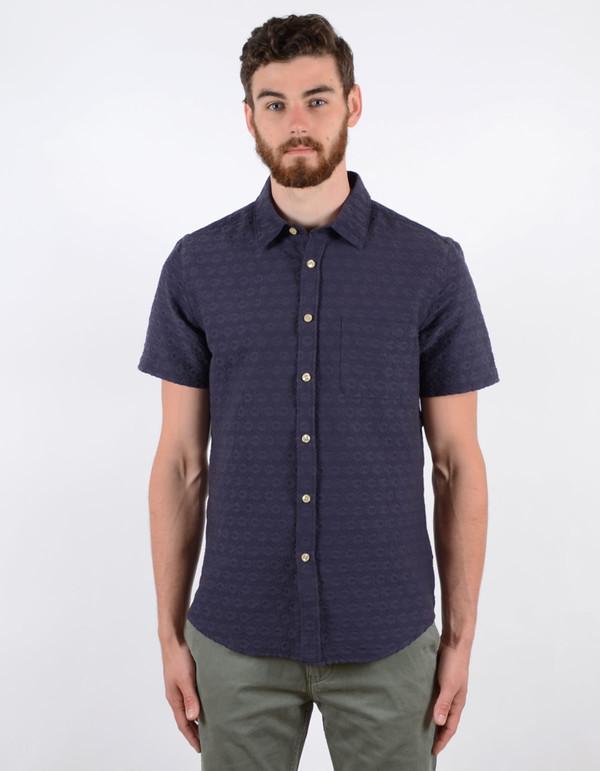Men's Portuguese Flannel Grao Short Sleeve Shirt Blue