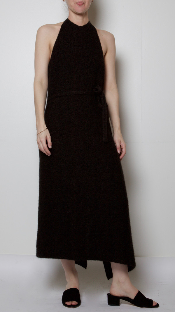 Baserange Knit Apron Dress in Black