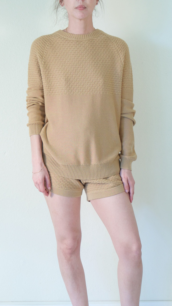 giu giu Tuck Stitch Crew Neck Sweater in Nude