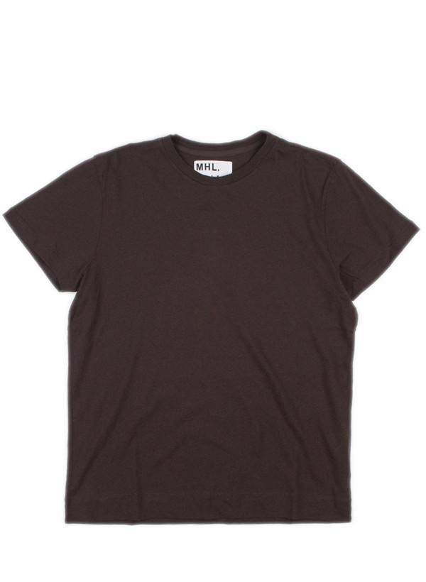 Men's MHL Margaret Howell Basic T-Shirt Cotton/Linen Jersey Dk Chocolate