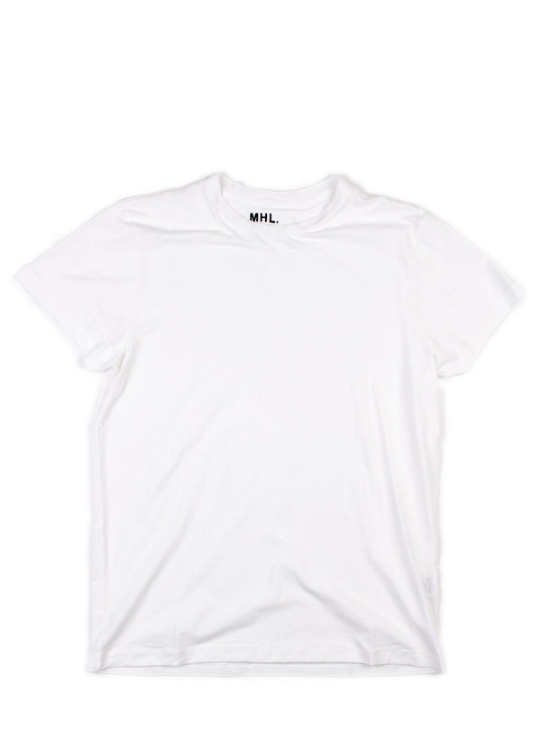 Men's MHL Margaret Howell Basic T-Shirt Cotton/Linen Jersey White