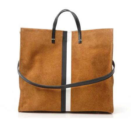 Clare V Cognac Suede With Black and White Stripes Simple Tote by Clare V.