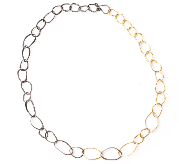 Rosanne Pugliese 22K Gold and Oxidized Silver Pebble Necklace