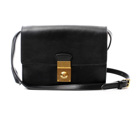 Lotuff Leather Black Locking Cross Body Bag