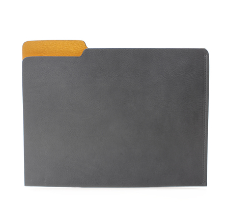Hayden Leather Grey and Yellow Leather File Folder