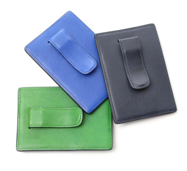 Hayden Leather Blue Money Clip Card Case
