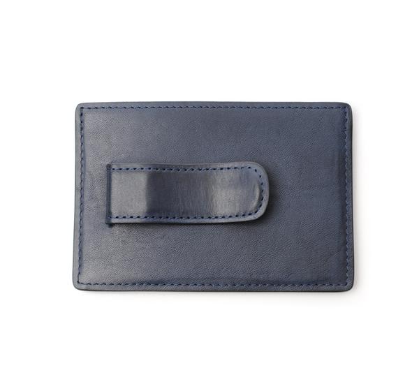 Hayden Leather Navy Money Clip Card Case