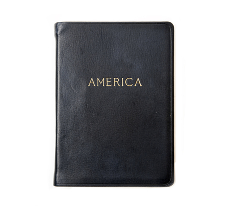 Hayden Leather Navy America Atlas Book