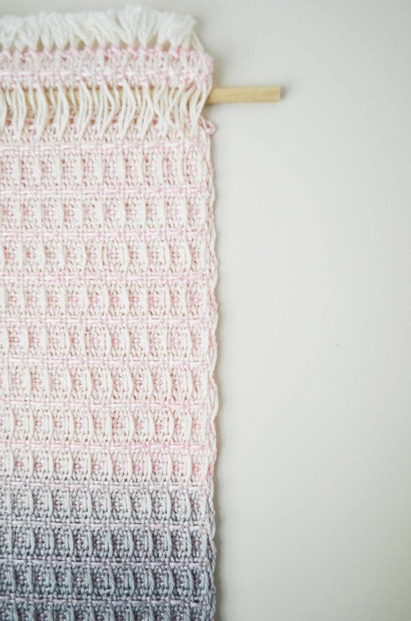 Ana Isabel Textiles Pink Waffle Weave Ombre Wall Hanging