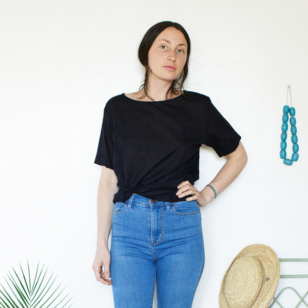 Unknown Square Top<br>Lightweight Cotton Black