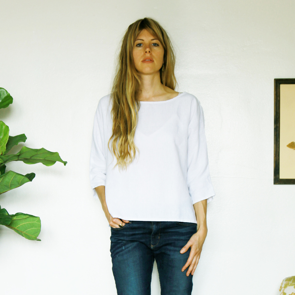Unknown Dolman 3/4 Sleeve Top<br>White