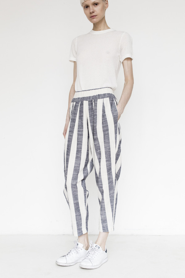 Black Crane Linen Carpenter Pant - Fat Stripe
