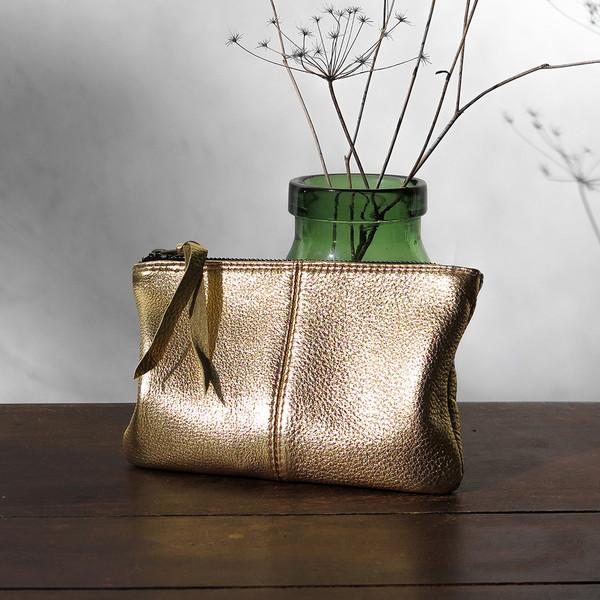 Erica Tanov Metallic Leather Makeup Bag