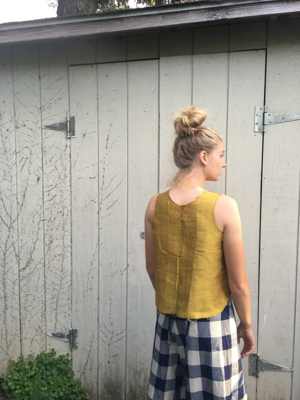 Alexa Stark gold silk patchwork tank