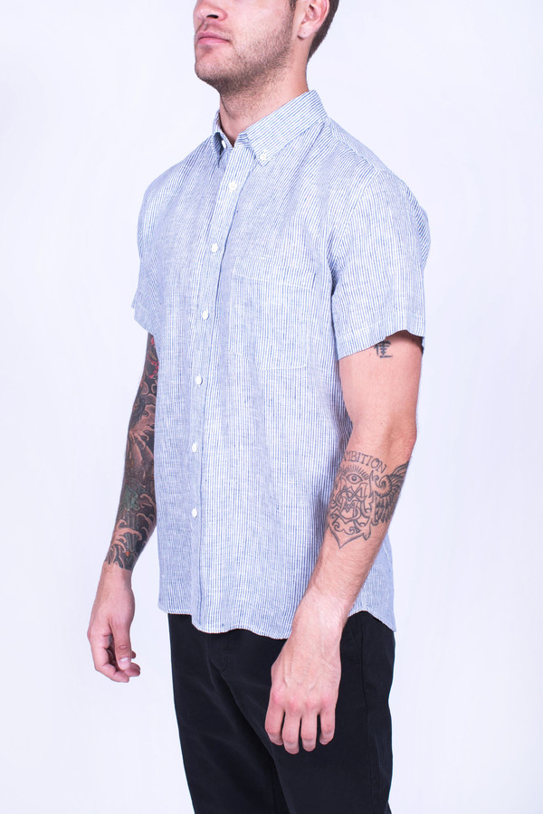 Men's Corridor Linen Mini Stripe Short Sleeve