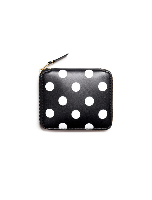 Comme des Garcons Polka Dots Printed Full Zip Wallet - Black