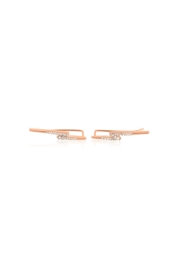 Adina Reyter Pave Lightning Bolt Wing Earrings 14k Rose Gold White Diamonds