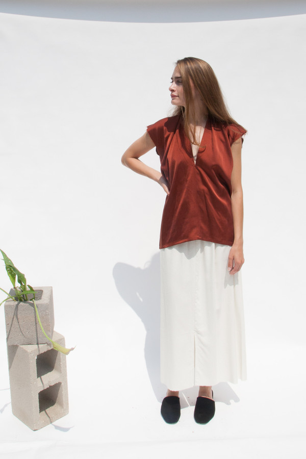 Miranda Bennett Everyday Top, Silk Charmeuse in Claret