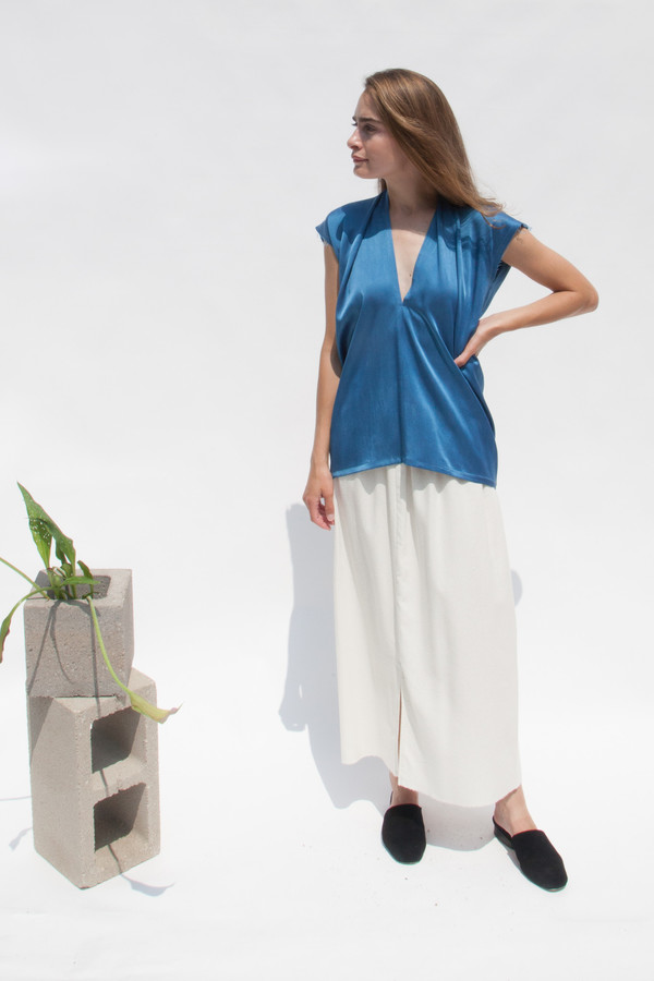 Miranda Bennett Everyday Top, Silk Charmeuse in Indigo
