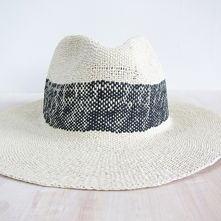 Bailey Hats wide stripe fedora - natural/black
