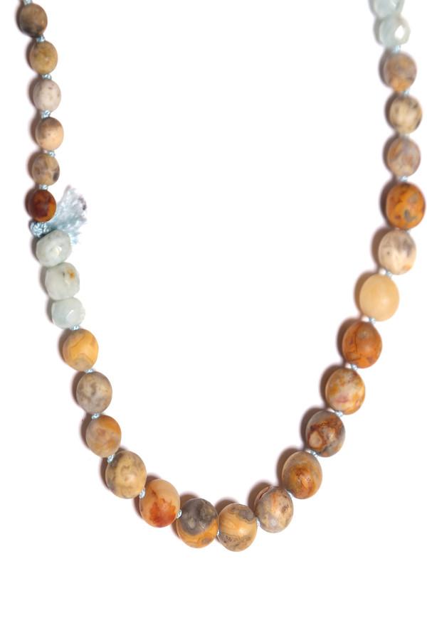 James and Jezebelle Jasper and Aqua Marine Necklace