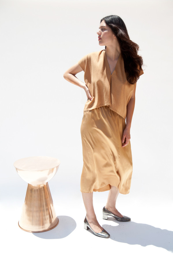 Miranda Bennett Everyday Top, Cropped, Silk Noil in Camel