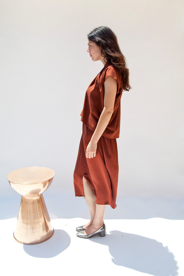 Miranda Bennett Everyday Top, Cropped, Silk Noil in Rust
