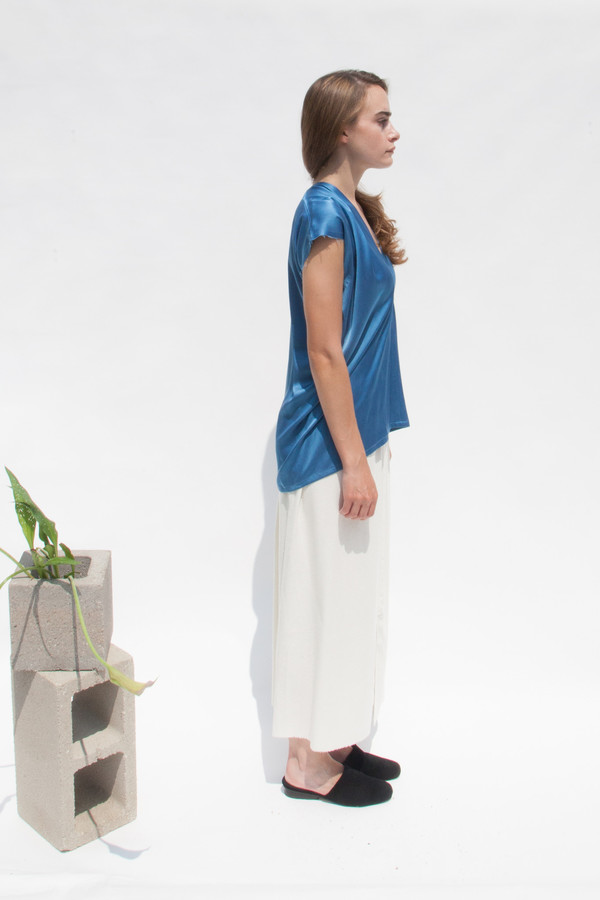 Miranda Bennett In-Stock: Everyday Top, Silk Charmeuse in Indigo