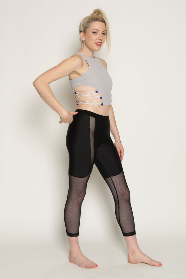 Chromat Power Mesh Running Pants in Black